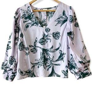 NWT Puff Sleeve Tropical Violet Shirt Size XL
